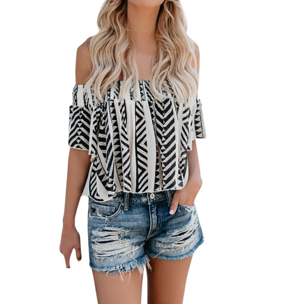 Spbamboo Women Casual Off Shoulder Print Blouse Short Sleeve Loose Top Shirt Tee