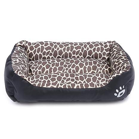 zhenghewyh Camas Perros Medianos Grandes Gatos Lavable Calentar Suave S M L XL (S, Leopardo)