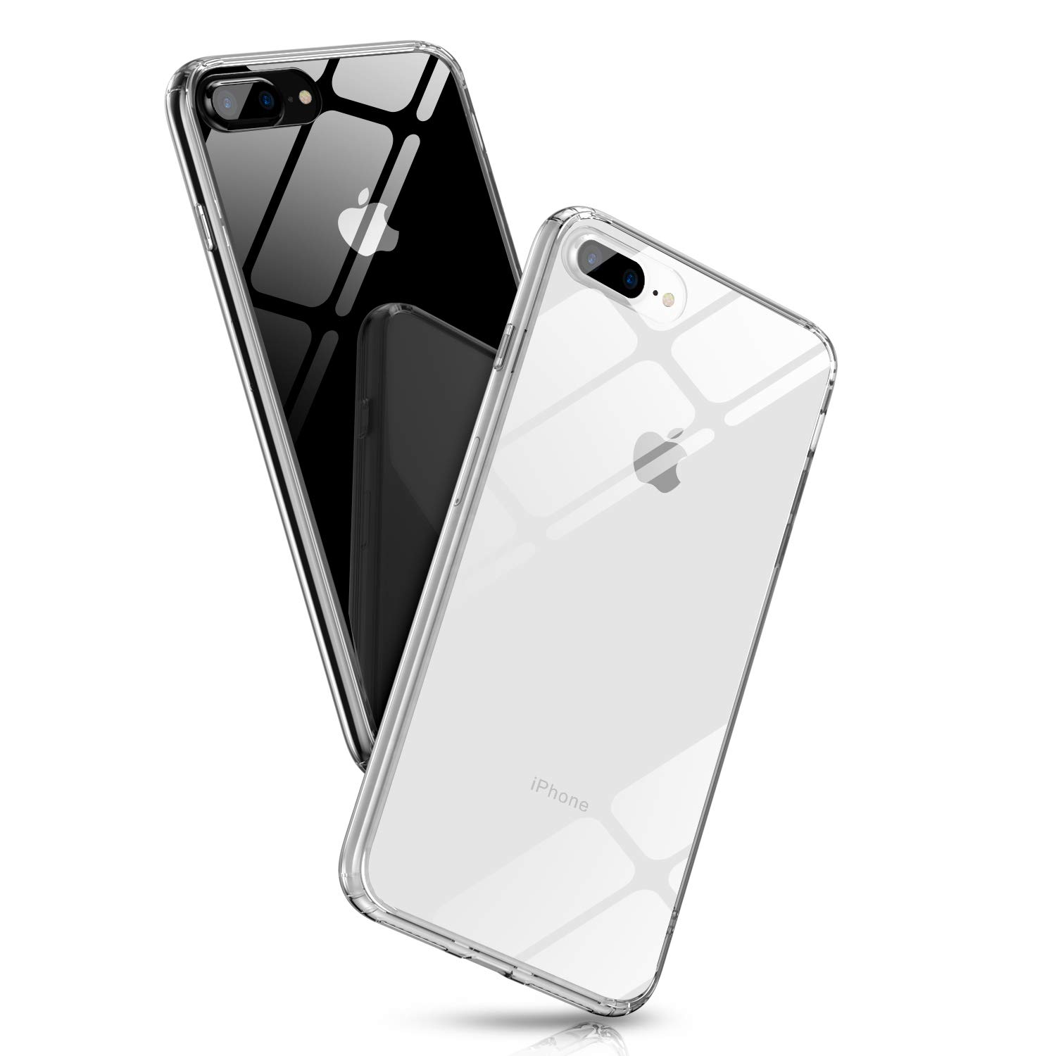 iPhone 8 Plus Clear Case, Ultra Hybrid 9H Tempered Glass Apple 7 Plus Glass Cover, Crystal Clear Anti-Scratch TPU Bumper iPhone 8 Plus Glass Case Transparent, Compatible for Apple 5.5 inch by Aunote