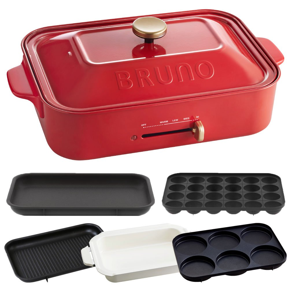 BRUNO Compact hot plate + ceramic coated pan + grill plate + multi plate 4piece set (Red)【Japan Domestic genuine products】