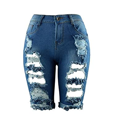 c88ee18eb4 LHWY Rotos Tejanos Pantalones Corto De Cintura Alta