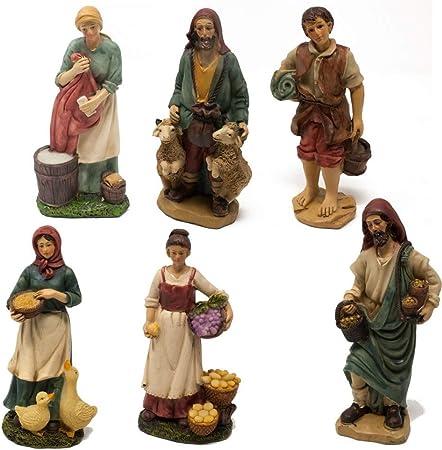 Joy Christmas Pastori in Resina 15 cm per Presepe Set da 6 Pezzi