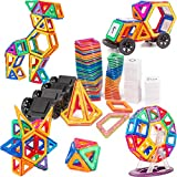 Magnet Tiles Building Block, Cossy 115 PCs Magnetic Stick and Stack Set for girls and boys, Perfect STEM Educational Toys for Kids Children