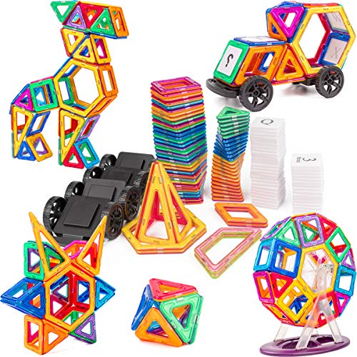 Magnet Tiles Building Block, Cossy 115 PCs Magnetic Stick and Stack Set for girls and boys, Perfect STEM Educational Toys for Kids Children by cossy