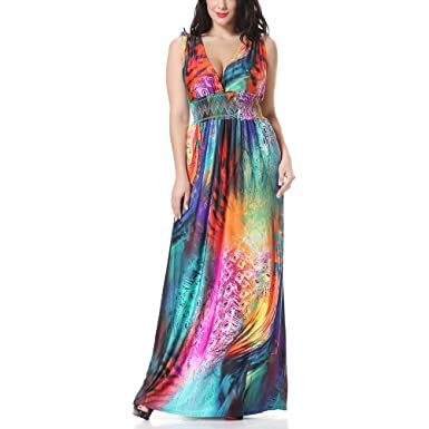 Zhhlaixing Colorful Feather Flower Ick Silk Beach Dress Holiday Bohemian  Sleeveless Dresses for Women Plus Size d933d7f9f065
