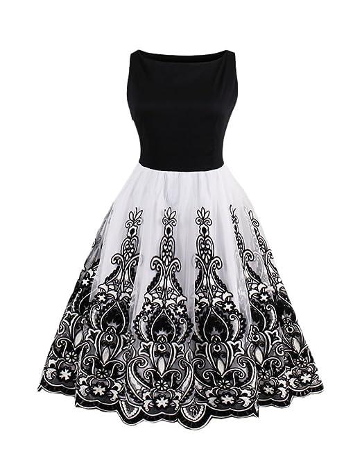 Kasen Mujeres Vintage 50 Bordado Rockabilly Vintage Vestido Vestidos de Fiesta Elegante Vestidos Blanco 2XL