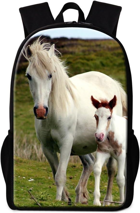Dispalang Cool Horse Printing School Backpack for Children Animal Back Pack Girls Bookbags