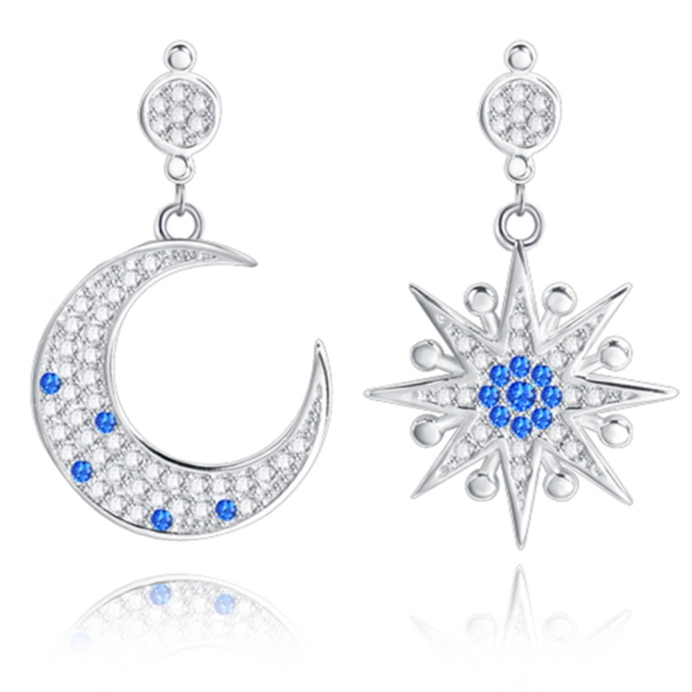 LOCHING Fashion Luxury Star and Moon Inlaid Zircon Dangle Earrings 925 Silver Earrings