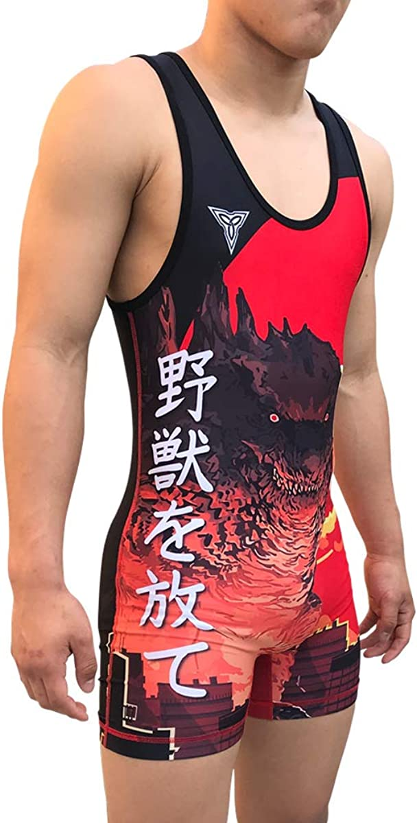 TRI-TITANS Godzilla Red Funk Fighter Wrestling Singlet Youths and Adult Mens Sizes