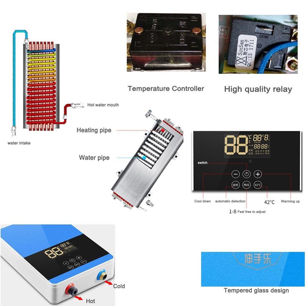 Calentador de agua eléctrico instantáneo 6KW Calentador de agua instantáneo sin tanque Calentadores de agua eléctricos de la ducha Conveniente para el ...