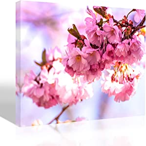 Purple Verbena Art Cherry Blossom Picture Room Decor Art Spring Flower Tree Branch Canvas Print Painting Artwork Photo Home Wall Art Decor for Living Room Bedroom Kitchen 12x16 Picture Frame