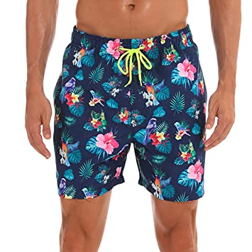 Surfboard Beach Floral Mens Swim Trunks Beach Shorts with Mesh Lining Boardshort