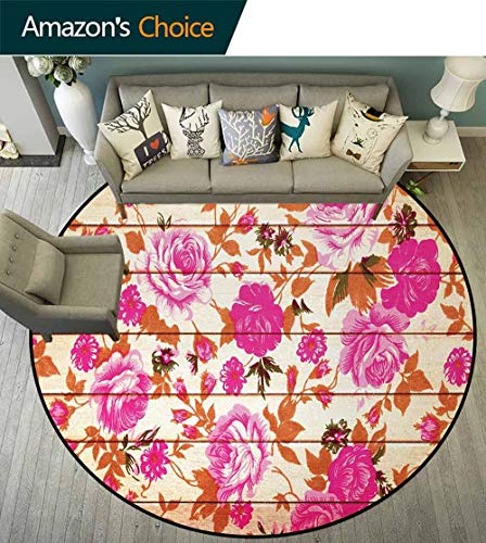 DESPKON-HOME Rose Round Area Rug,Vintage Warm Color Roses On Wood Well-Being and Love Valentines Theme Modern Print Design Non-Slip Fabric Round Rugs for Bedroom Diameter-47 Inch,Pink Orange