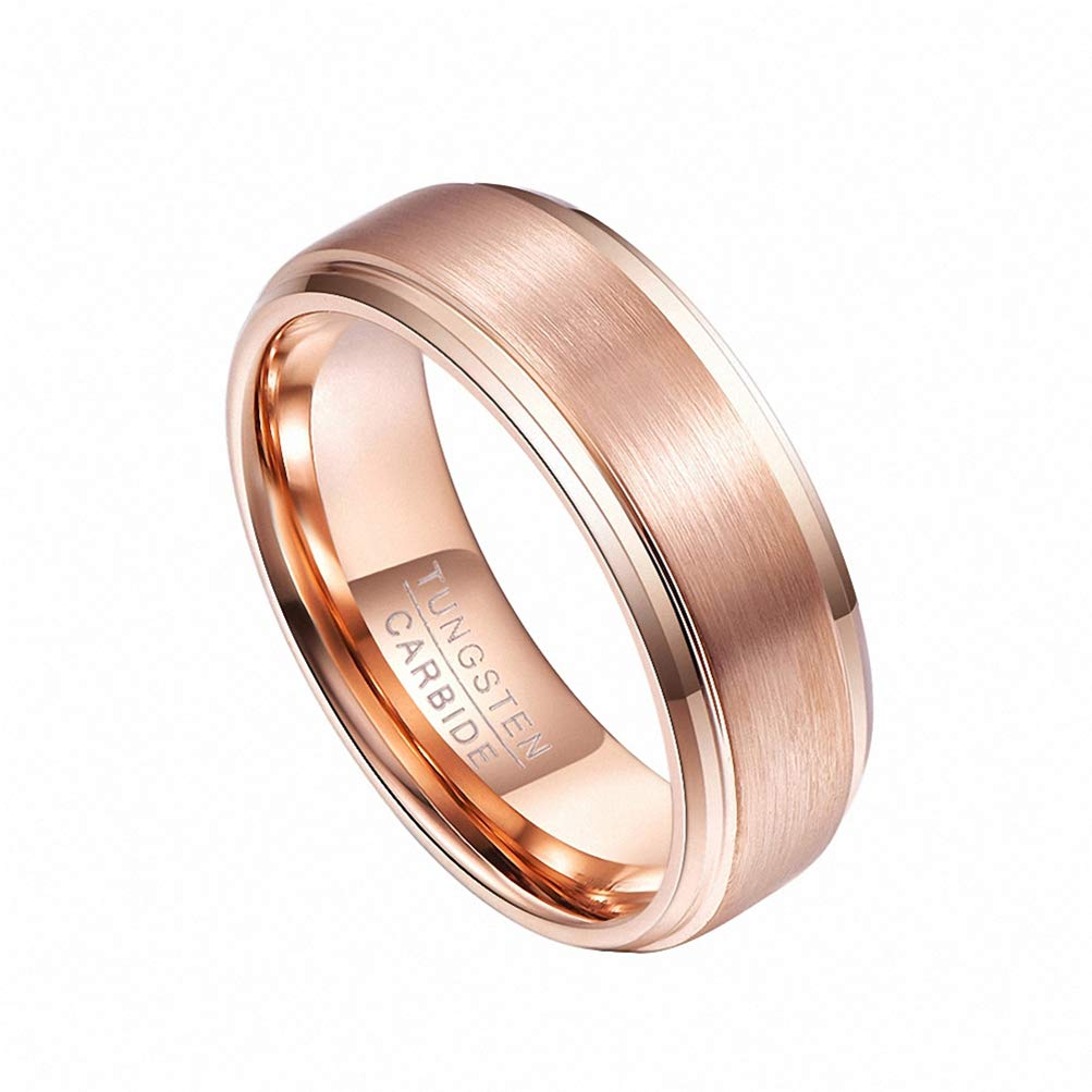 Mens Band Wedding Ring Rose Gold Tungsten Jewelry Gift for Men Comfort Fit
