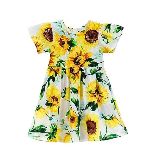 7f6eaf628 Amazon.com: Hatoys Cute Kids Baby Girls Sun Floral Cartoon Sundress Clothes  Princess Dress Dresses: Clothing