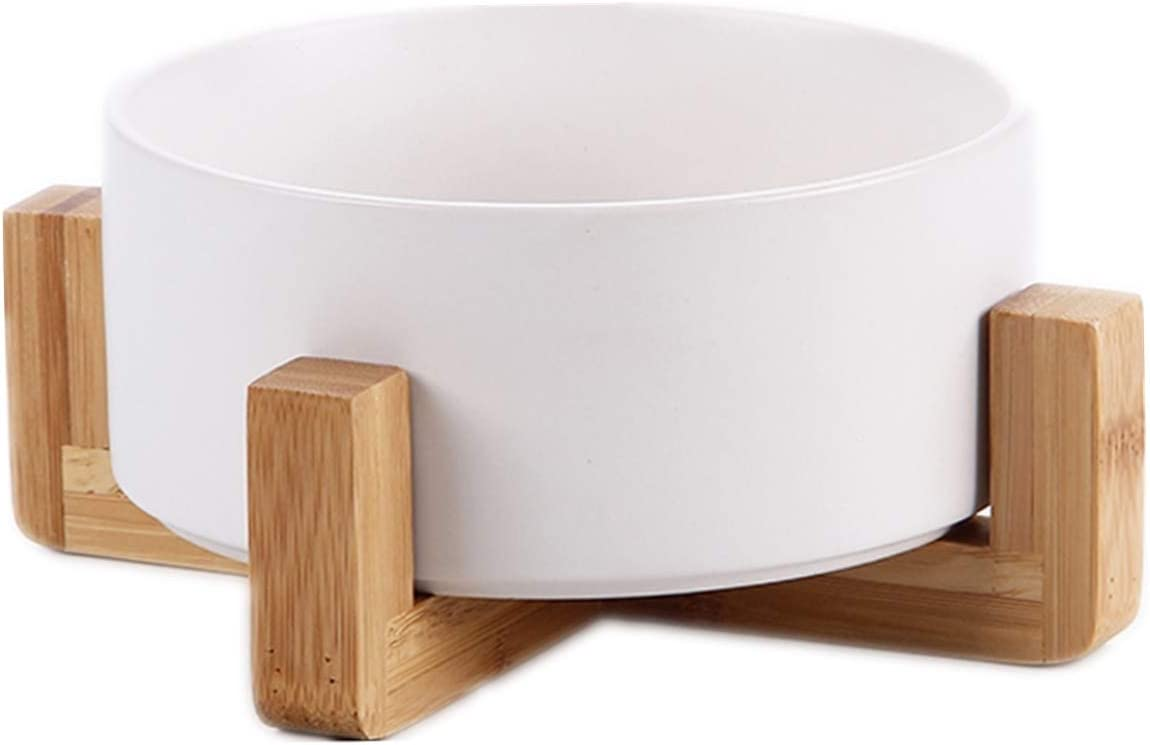 LORVOR Ceramic Pet Bowl for Cat and Small Dog, Bowl with Elevated Wooden Stand for Food and Water Bowl No Tip Over Pet Comfort Feeding Bowls