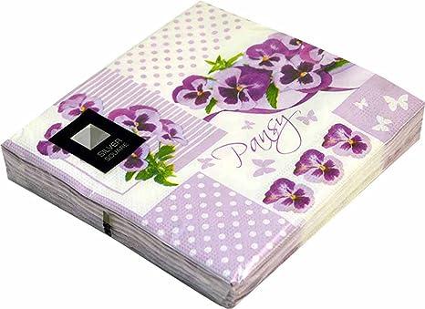 20 servilletas de 3 capas LILA flores patrón servilletas de papel – 33 cm x 33