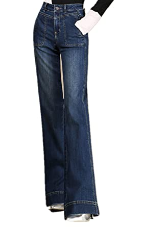 cbbee686 Cresay Women's High Waist Wide Leg Utility Pocket Flare Jean-33 Blue