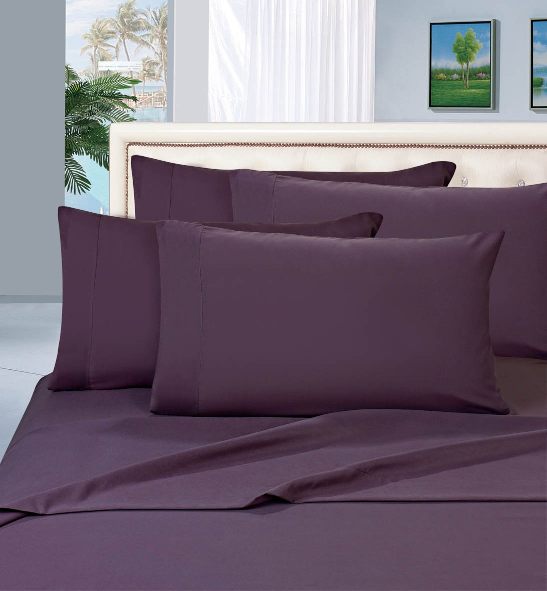 6 Piece Ultra Soft Luxurious Bed Sheet Set, Queen, Eggplant-Purple