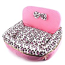 Generic Leopard Pink Bed for Pet Small Dog 55cm X 40cm X 15cm
