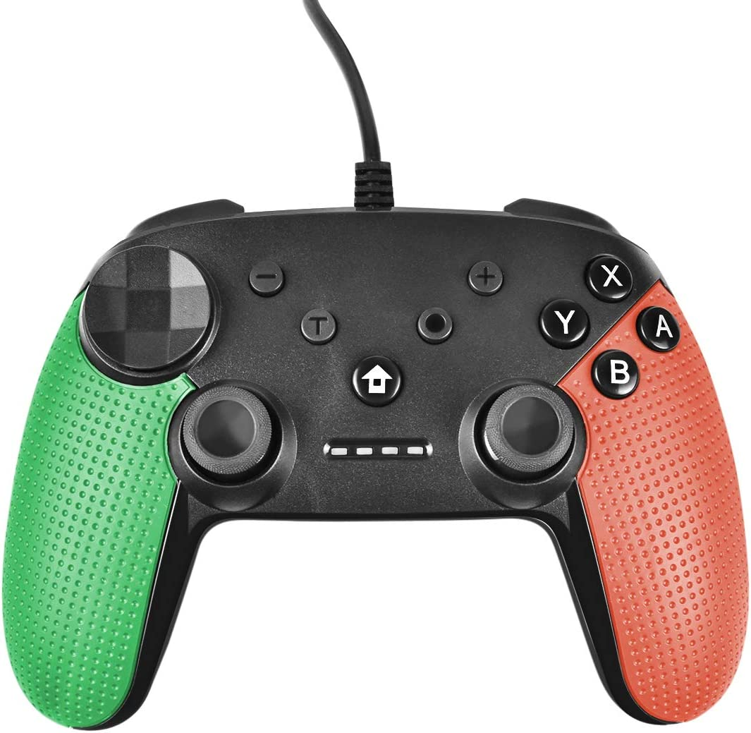 Powtree USB Wired Pro Controller for Nintendo Switch Gyro Axis Motion Controls Vibration Sense Gamepad Compatible with PS3 Windows(10/8.1/8/ 7 / XP) PC(Xinput and Dinput) Android- (Green&Orange)