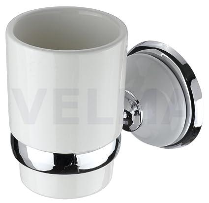 VELMA - 218358 - Precioso soporte + vaso de cepillo de dientes para baño con un