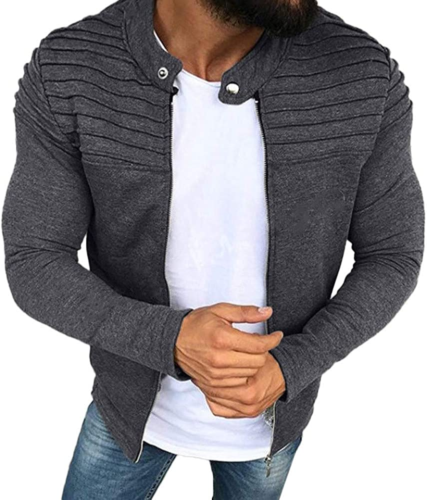 Mens Jacket Mens Autumn Winter Solid Color Striped Pleated Panel Outwear Slim Fit Zipper Long Sleeve Top Coat