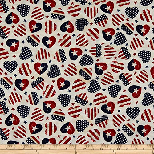 Timeless Treasures Stars & Stripes American Flag Hearts Cream, Fabric by the Yard