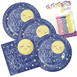 To The Moon And Back Theme Plates and Napkins Serves 16 With Birthday Candles