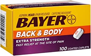 Bayer Back & Body Aspirin 500mg Coated Tablets   Pain Reliever with 32.5mg Caffeine   200 Count