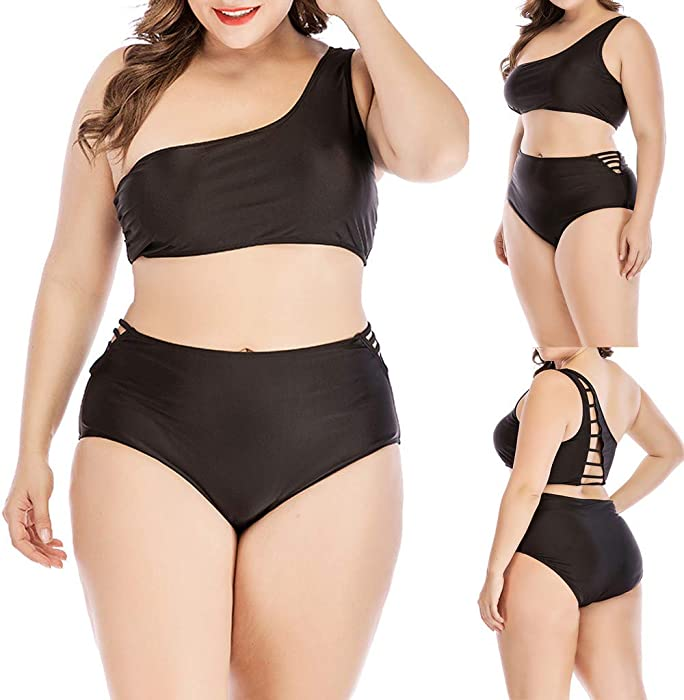 e318685ad5b3d Amazon.com: Hemlock Women Plus Size Swimsuit One Shoulder Swimwear High  Waist Bikini Set Push Up Padded Black Beachwear: Clothing