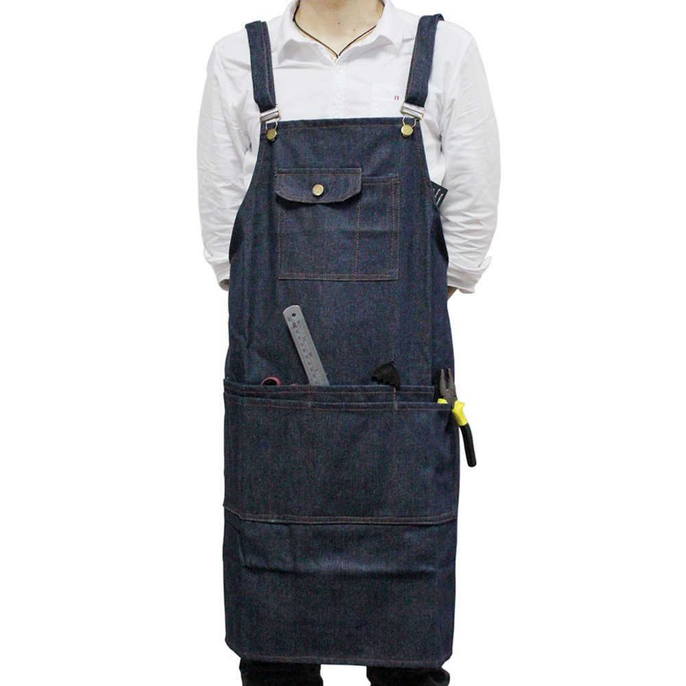 boshiho Denim Jean Work Apron, Adjustable Heavy Duty Work Apron Chef Apron with Cross-Back Straps (Blue)