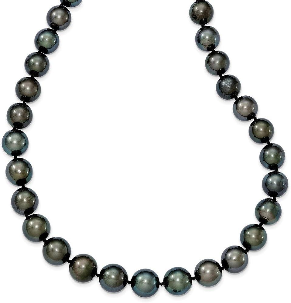 DIAMOND2DEAL INC Collar de Perlas cultivadas de Tahití en Oro Blanco de 14 Quilates y Negro, 48,26 cm
