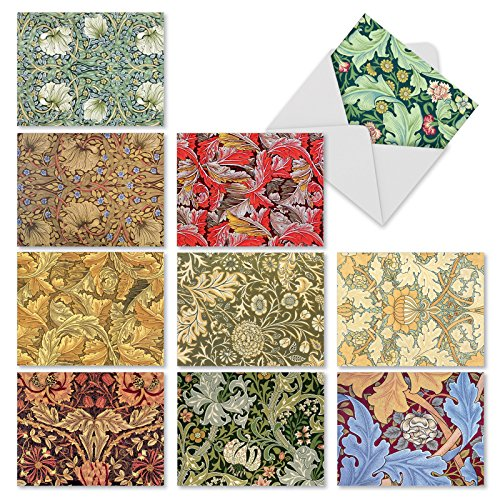 M3308sl Wall Art: 10 Assorted Blank All-Occasion Note Cards Featuring Designs Inspired By Vintage Wallpapers, w/White Envelopes.