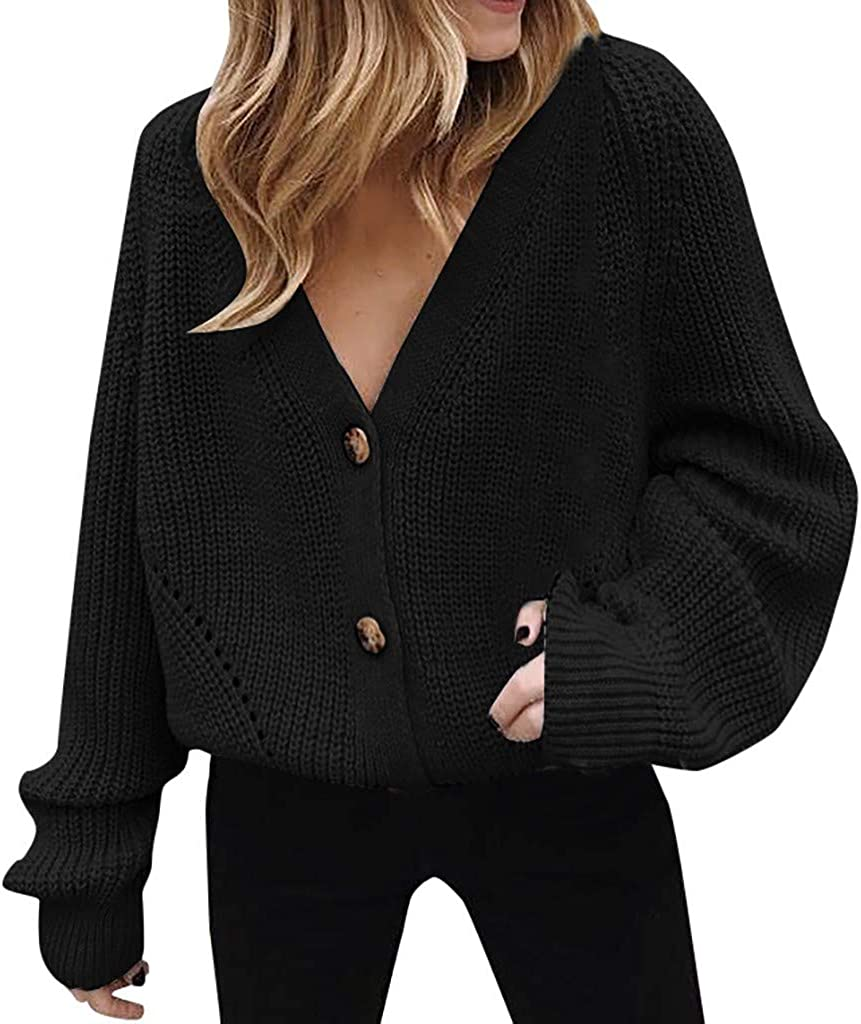 Womens Sweaters Henley V Neck Button Down Long Sleeve Cable Knit Cardigan Casual Outerwear Tops