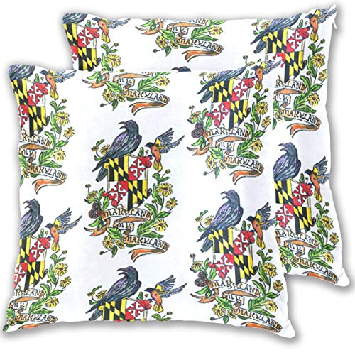 BeliveFinds My Maryland Baltimore Oriole Throw Pillow Covers Bed Sofa Cotton Square Pillowcase,Set of 2
