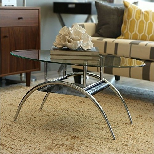 Walker Edison Glass Oval Coffee Table (Black Oval Cocktail Table)