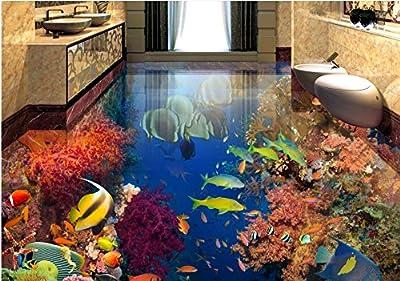 LWCX Custom 3D Floor Murals Tropical Fish Underwater Wallpaper 3D PVC Vinyl Flooring Water Proof Wallpaper for Bathroom Living Room