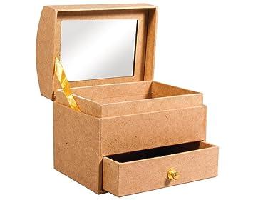 Kleine Papier Pappmach/é Schmuck Box mit Schublade /& Spiegel zum Dekorieren