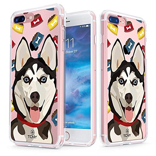iPhone 8 Plus Case - True Color Clear-Shield Siberian Husky Dog My Lovely Pet Collection Printed on Clear Back - Soft and Hard Thin Shock Absorbing Dustproof Full Protection Bumper (Huskies Cell Phone Case)