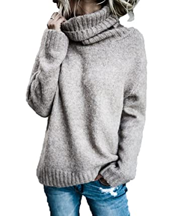 4fd988215a821 FISACE Women Solid Round Neck Oversized Turtleneck Full Sleeve Knitted Sweater  Pullover at Amazon Women's Clothing store:
