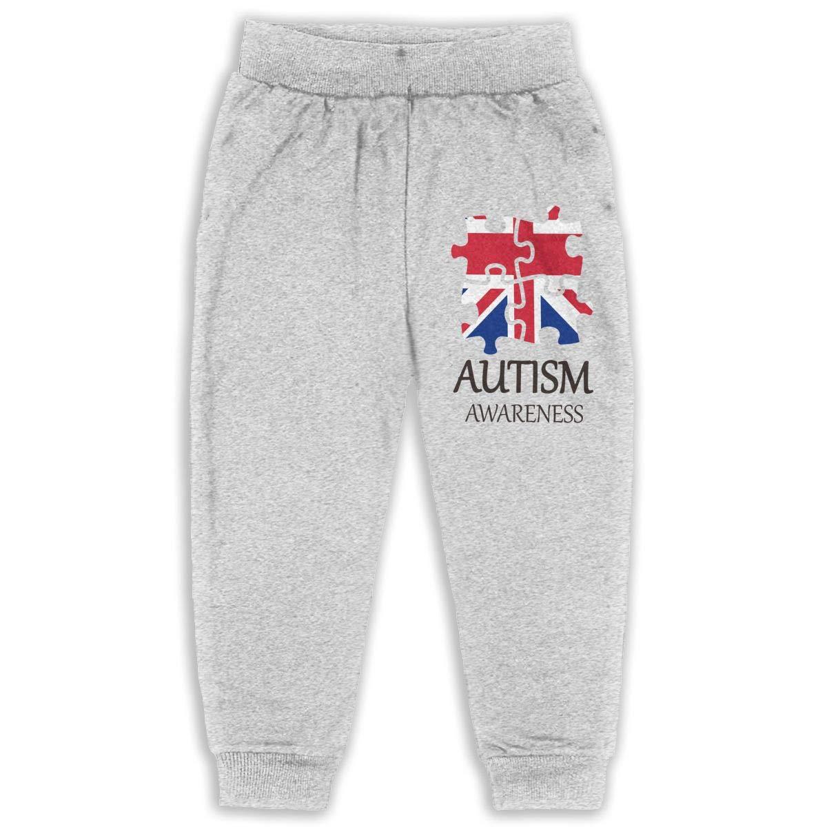 Udyi/&Jln-97 British Flag World Autism Awareness Day 2 Kids /& Toddler Sweatpants Soft Cozy Girls Boys Jogger Play Pant
