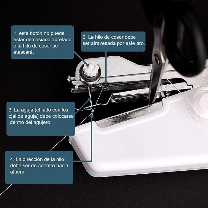 Fabur Mini Máquina de Coser Portátil Herramienta Manual Portátil con 10 Piezas Hilos de Coser de Colores, Herramienta de Puntada Rápida para Tela, ...