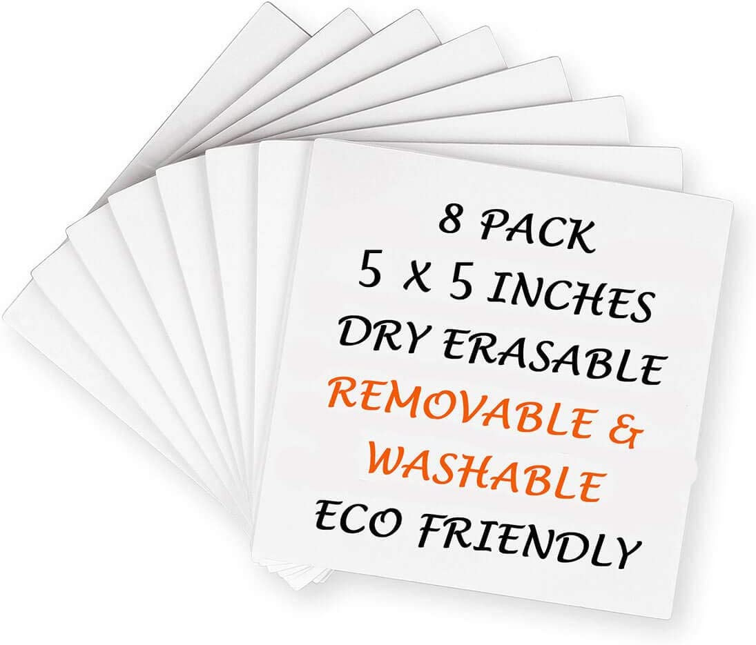 8 Pack Dry-Erase Sticky Notes, Reusable Self-Stick Whiteboard Stickies Stickers Note Pads for Office Classroom Home (8 Pack 5 in x 5 in)