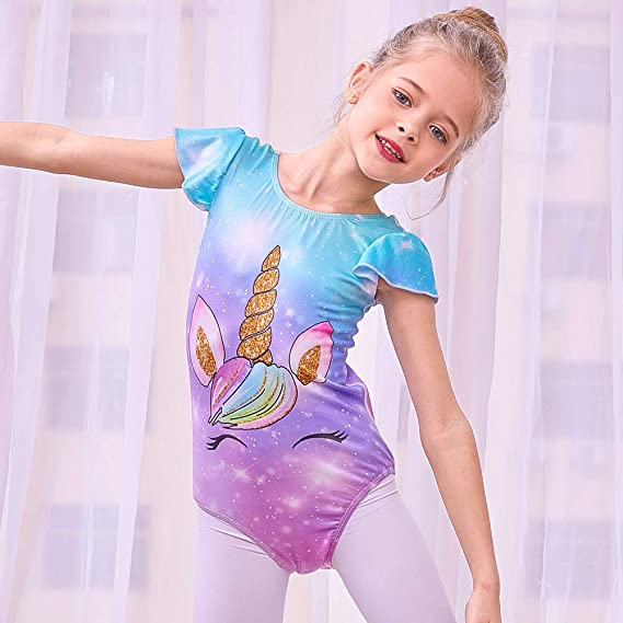 MHJY Girls Leotards One Piece Swimsuit Unicorn Gymnastic Leotards for Ballet Dance Athletic Sports Outfits