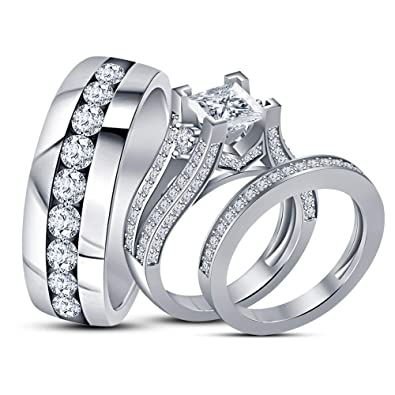 1a9e5a63d9 Buy Silver Dew Couple Ring 925 Sterling Silver Gold Plated CZ Diamond 3 Rings  Matching Set Wedding Anniversary Valentine Gift For Girlfriend & Boyfriend.