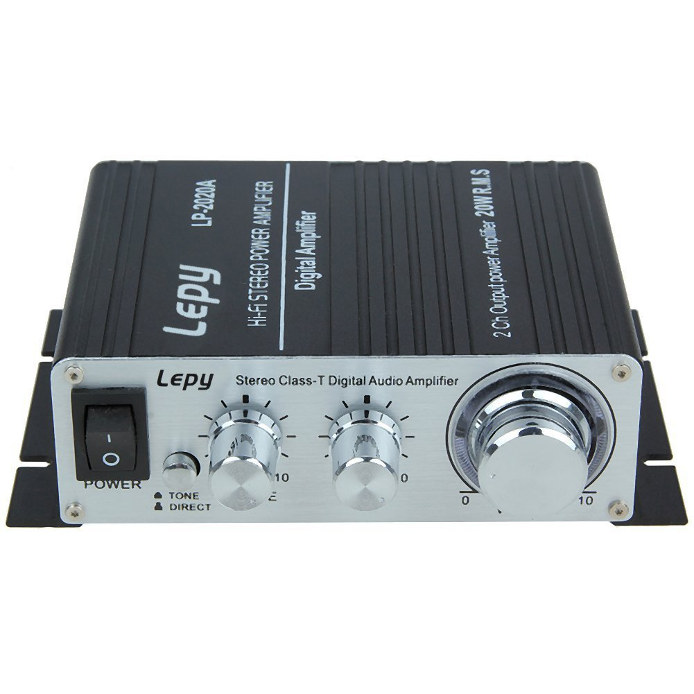 Lepy LP-2020A Class-D Hi-Fi Audio Mini Amplifier with US Power Supply Black LP 2020A