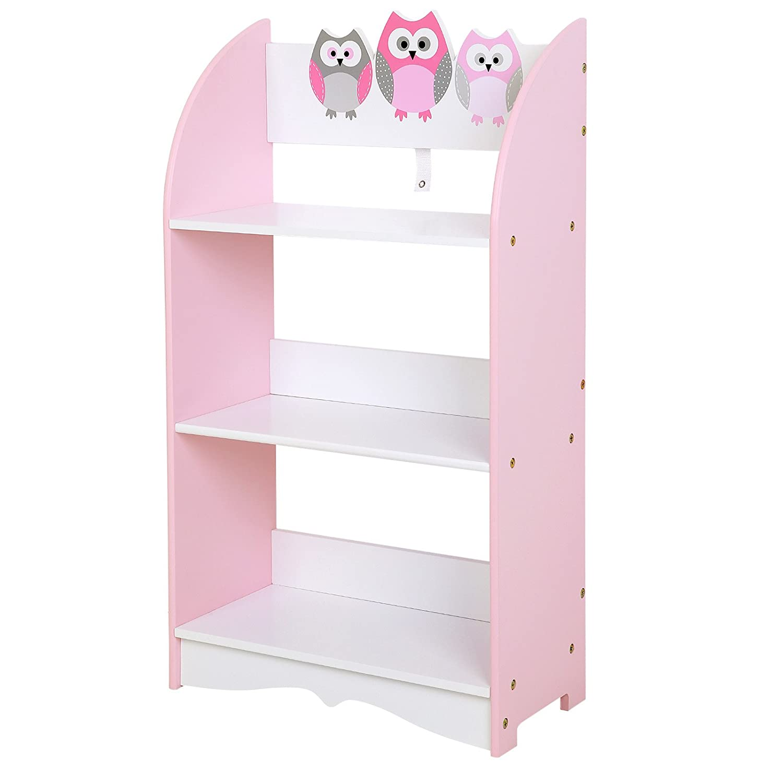 SONGMICS Kid Book Shelf for Girls 3 Book Shelves for Childs Bedroom Playroom Pink and White ULKF03PK