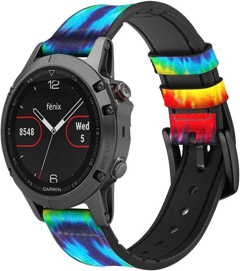 Innovedesire Tie Dye Peace Correa de Reloj Inteligente de Cuero para Garmin Vivoactive 4S Vivomove 3S Tamaño (18mm)