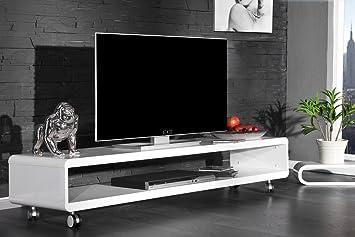 Design TV Board Lowboard CAST Weiss Hochglanz Fernsehtisch Auf Rollen